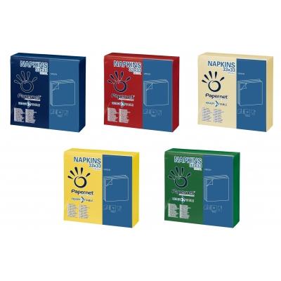 Farbige Papierservietten 33 x 33 cm 2-lagig, 1/4 Falz, Zellstoff 42 Pack x 50 Stück  2100 Stück / Karton