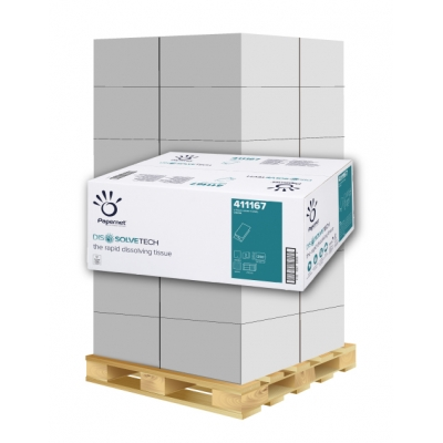 Papierhandtücher Papernet 411167 V-Falz, 2-lagig, Zellstoff  Maß: 25 x 23 cm (gef. 10,5 cm)  1 Palette / 36 Kartons