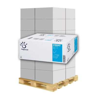 Papierhandtücher Papernet 416642 V-Falz, 2-lagig, weiß 65% Maß: 25 x 23 cm (gef. 11,5 cm)  1 Palette / 32 Kartons