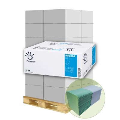 Papierhandtücher Papernet 406344 V-Falz, 2-lagig, GRÜN Maß: 24,5 x 23 cm (gef. 11,5 cm)  1 Palette / 32 Kartons