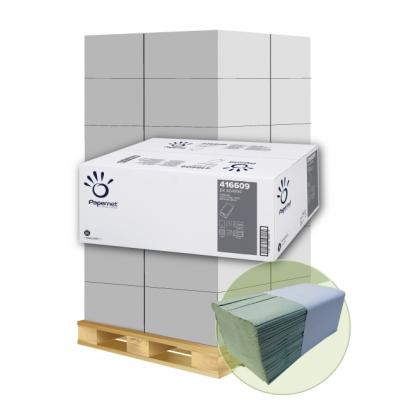 Papierhandtücher Papernet 416609 V-Falz, 1-lagig, GRÜN Maß: 24,5 x 23 cm (gef. 11,5 cm)  1 Palette / 32 Kartons