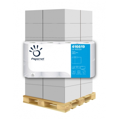 Toilettenpapier Deinktes Papier 2-lagig, 250 Blatt,  weiß 65% Papernet 416619 8 Rollen / VE  1 Palette / 264 VE