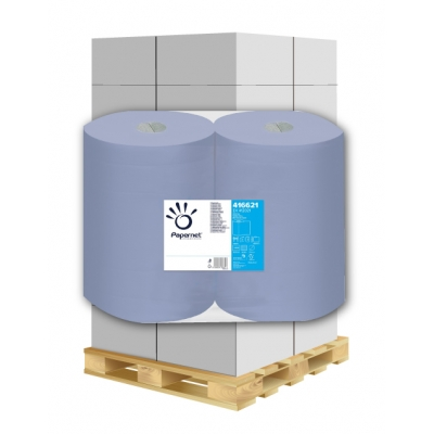 Putztuchrollen Recycling, blau 2-lagig, 1000 Blatt, 37cm Papernet 416621 2 Rollen / VE  1 Palette / 36 VE