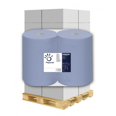 Putztuchrollen Recycling, blau 3-lagig, 500 Blatt, 37cm Papernet 416624 2 Rollen / VE  1 Palette / 36 VE