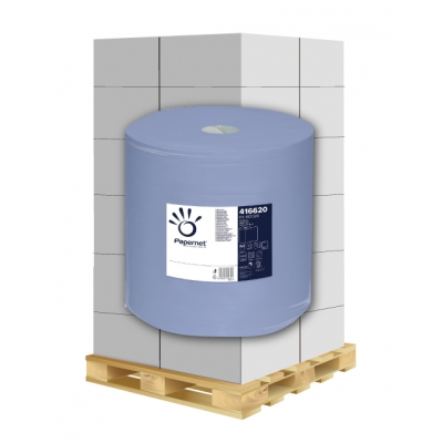 Putztuchrollen Recycling, blau 3-lagig, 1000 Blatt, 37cm Papernet 416620 1 Rolle / VE  1 Palette / 36 VE