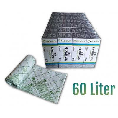 Bio4Pack Bio-Abfallbeutel 60 Liter, 100% kompostierbar Maße: 60 x 80 cm  24 Rollen / Karton
