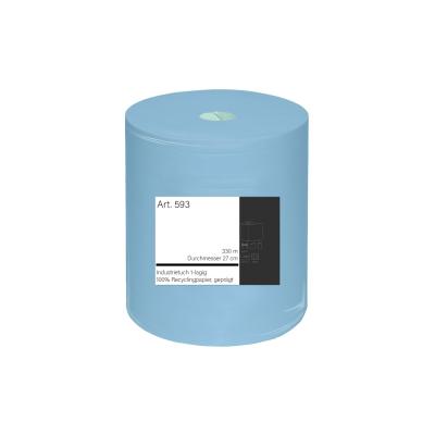 Industrieputztuchrolle 27 x 27 cm, blau 1-lagig, 330 m / Rolle 593  Rolle