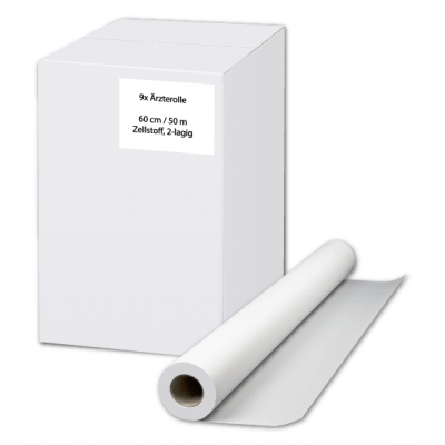 Ärzterollen / Liegenpapier 60 cm Zellstoff, 2-lagig, 50 Meter / Rolle Eigenmarke  9 Rollen / Karton