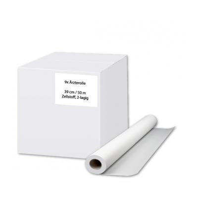 Ärzterollen / Ärztekrepp 39 cm Zellstoff, 2-lagig, 50 Meter / Rolle Eigenmarke  9 Rollen / Karton