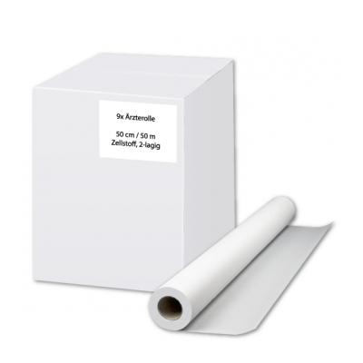 Ärzterollen / Ärztekrepp 55 cm Zellstoff, 2-lagig, 50 Meter / Rolle Eigenmarke  9 Rollen / Karton