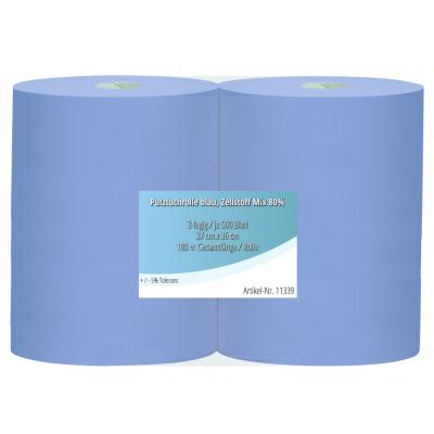 Putztuchrollen Blau 36 x 37 cm 3-lagig, 500 Blatt / Rolle Werkstatt Profi 11339   Doppelpack