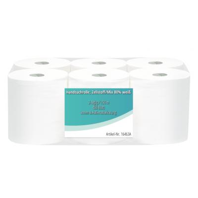 Handtuchrollen Zellstoff-Mix 2-lagig, 450 Blatt / Rolle Innen-/Außenabwicklung  6 Rollen / VE