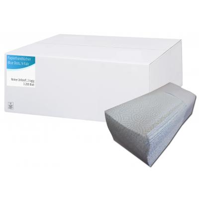 Falthandtücher Zellstoff  V-Falz, 2-lagig, Blaue Punkte Maß: 25 x 23 cm (gefalten 11,5 cm)  3.200 Stück / Karton