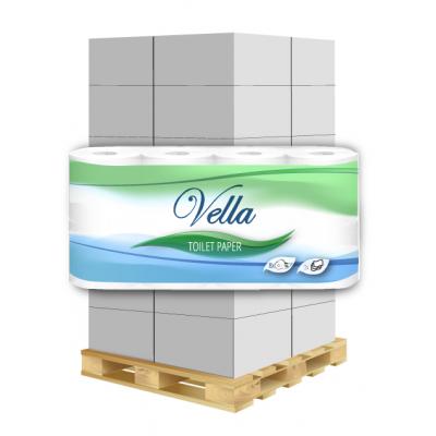 Toilettenpapier Vella 3-lagig, 150 Blatt, Zellstoff 8 Rollen / VE  1 Palette / 240 VE