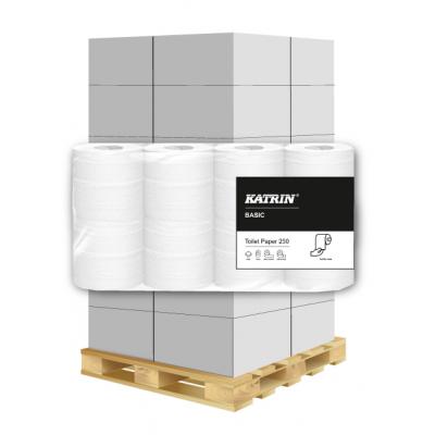 Toilettenpapier Katrin 2-lagig, 250 Blatt, Recycling 8 Rollen / VE  1 Palette / 216 VE