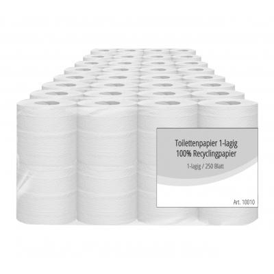 Toilettenpapier 100% Recycling Krepp 1-lagig / 250 Blatt 10010  64 Rollen / VE