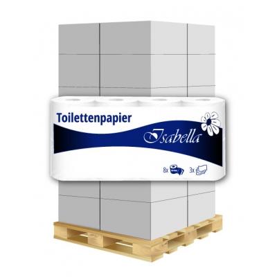 Toilettenpapier Zellstoff 3-lagig / 250 Blatt 8 Rollen / VE  1 Palette / 144 VE