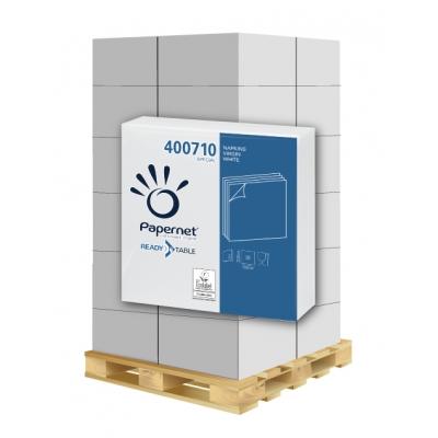Papierservietten 33x33 cm weiß 2-lagig, 50 Stück/Pack, Zellstoff Papernet 400710 42 Pack / VE  1 Palette / 24 VE